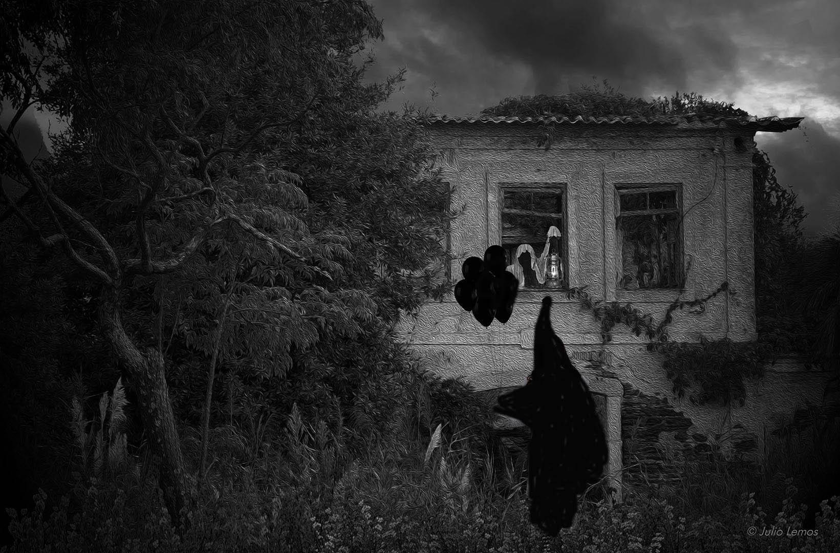 Criação de imagem da casa de M.B.N. invadida por assombrações num dia qualquer do ano de 1954 (Foto: Divulgação)